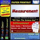 Bill Nye - Measurement – Worksheet, Answer Sheet, and Two