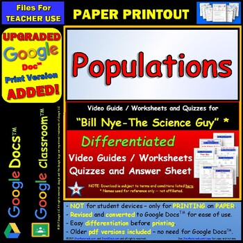 Bill Nye - Populations – Worksheet, Answer Sheet, and Two