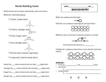 Biochemistry- Chemistry of Life Unit Packet