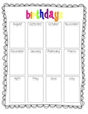 Birthdays by the Month Chart