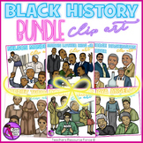 Black History Heroes Clip Art Bundle - color and black line