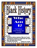 """Black History """"Who Am I?"""" Card Game with Writing and Art Activity"""