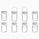 Clipart - Black Line Vintage Mason Ball Jars
