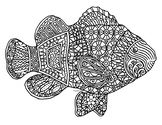 Black & White Detailed Fish Coloring Sheet