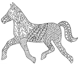 Black & White Detailed Horse Coloring Sheet: 2014 Chinese
