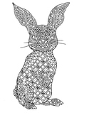 Black & White Detailed Rabbit Coloring Sheet