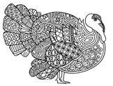 Black & White Detailed Turkey Coloring Sheet: Thanksgiving