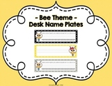 Black, Yellow and Gray Polka Dot ~ Bee Theme Desk Nameplates