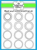 Black and White Circle Frames Clip Art