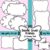 Black and White Doodle Cover Frames & Borders for Commercial Use