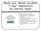 "Black and White Doodley ""I Can"" Statements for 2nd Grade"