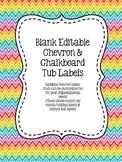 Blank Editable Organizational Tub Labels - Chevron & Chalkboard!