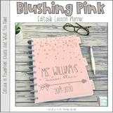 Blushing Pink Editable Teacher Binder / Lesson Planner 2015-16