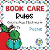 Book Care Rules Coloring Page and Bookmarks - FREE