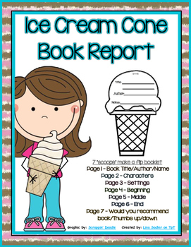 Book Report or Story Element Ice Cream Cone Template