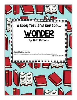 Book Test for Wonder, by R.J. Palacio