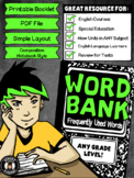 {Printable Booklet} Word Bank ***UPDATED 2014***