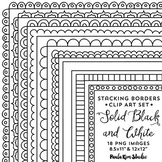 Stacking Borders - Black & White, 8.5x11 and Square