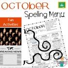 Spelling Homework Menu - October