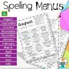 Spelling Homework Menu - Year Packet