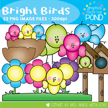 Bright Birds - Color & Line Art Clip Art Graphics