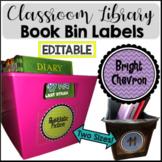Bright Chevron Book Bin Library Labels {EDITABLE}