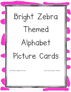Bright Zebra Themed Alphabet Cards