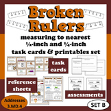 Broken Rulers - measure to nearest 1/2 & 1/4 inch task car