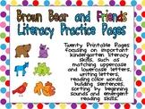 Brown Bear Literacy Practice Pages Kindergarten- color wor