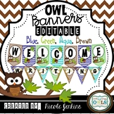 Brown Owl Chevron Bunting Banners (Blue, Green, Aqua, Brown)