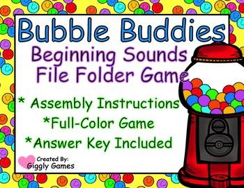 Bubble Buddies Beginning Sounds File Folder Game