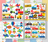 Bundle Pack -  Transportation / Cars, Trucks & Planes Clipart