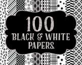 Bundles -Digital Papers Pack 100 Black and White Patterns~