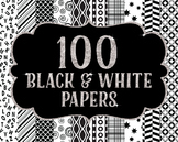 Bundles -Digital Papers Pack 100 Black and White Patterns~