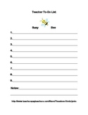Busy Bee Teacher To-Do List
