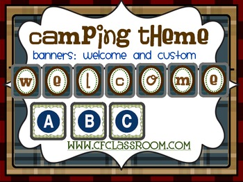 CAMPING THEME BANNERS WELCOME and CUSTOM-classroom theme {