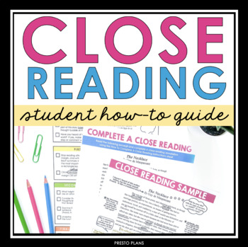 CLOSE READING: Presentation, Student Guide & Annotation Assignment (Common Core)