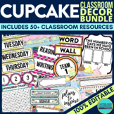 CUPCAKES Classroom Theme EDITABLE Decor-34 Product Bundle