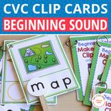 CVC Initial Sound Make a Word Clip Cards:  CVC and Phonics