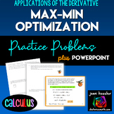 Calculus Derivatives Max Min Optimization Worksheet and Po