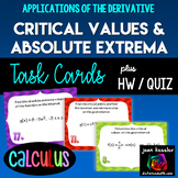 Calculus: Critical Values, Extrema, Derivatives *Task Card