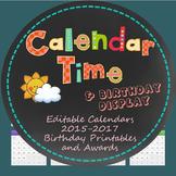 Calendar Time, Birthdays 2015-2017 and Printable Student PDFs