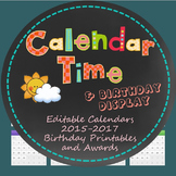Calendar Time, Birthdays 2015-2017 and Printable Student PDFs