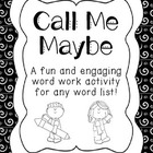 Call Me Maybe Word Work