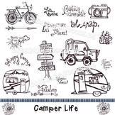 Camper Life Doodle Clip Art