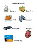 Camping Word Wall List