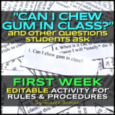 """Can I Chew Gum in Class?"" Beginning of the Year Class Rul"