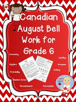Canadian August Bell Work for Grade 6
