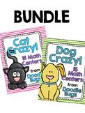 Cat & Dog Crazy BUNDLE! 15 Math Centers - Numbers, Clocks,