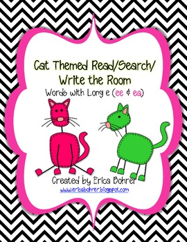 Cat Themed Search/Read/Write the Room for Long E Words